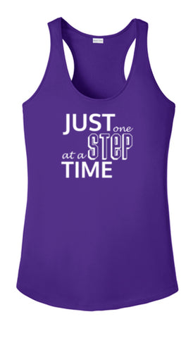 Women's Reflective Tank Top - Just One Step at a Time - Dark Purple Front
