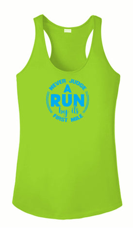 Women's Reflective Tank Top - Never Judge a Run - Lime Green Front