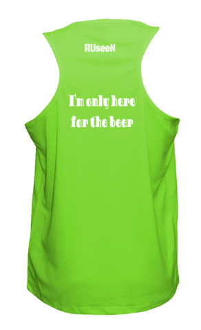 Men's Reflective Tank Top Shirt - I'm Only Here For The Beer - Back - Neon Green