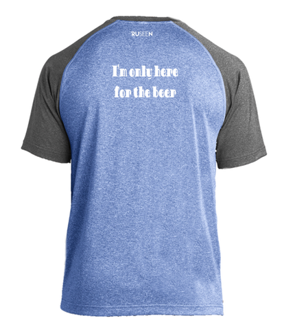 Men's Reflective Short Sleeve Shirt - Only Here For The Beer - Back - 2 Tone Royal Gray