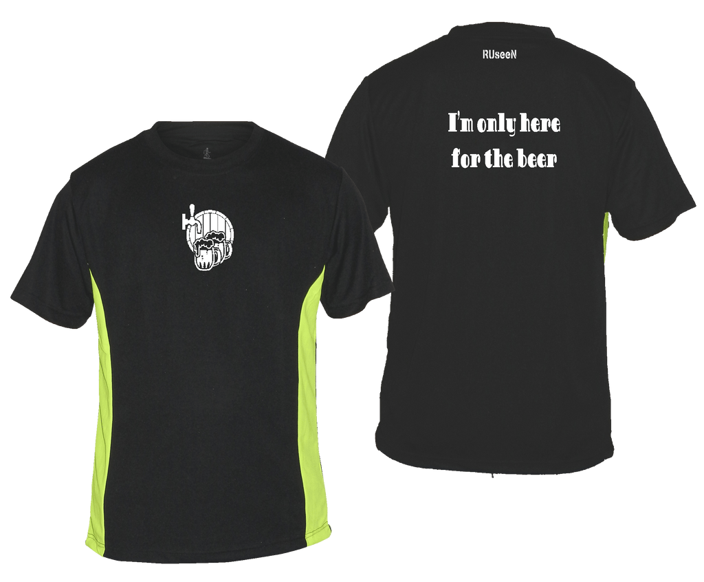 Men's Reflective Short Sleeve Shirt - Only Here For The Beer - Front & Back - Black with Lime Sides