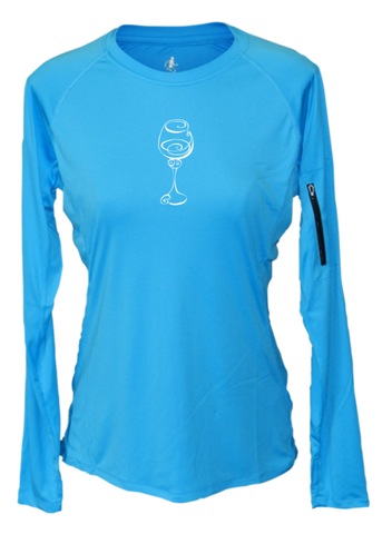 WOMEN'S REFLECTIVE LONG SLEEVE CREW NECK – BETTER BE WINE – Front - Bright Blue