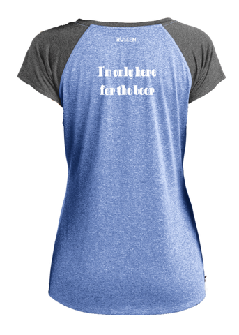 Women's Reflective Short Sleeve Shirt - I'm Only Here For The Beer - Back - 2 Tone Royal Gray