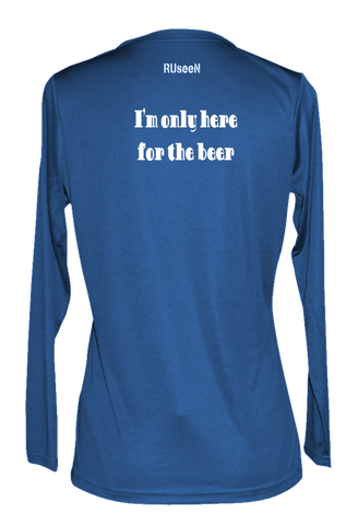Women's Reflective Long Sleeve Shirt - I'm Only Here For The Beer - Back - Electric Blue