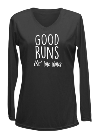 WOMEN'S REFLECTIVE LONG SLEEVE SHIRT – GOOD RUNS & FINE WINES – Front - Black