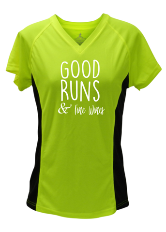 WOMEN'S REFLECTIVE SHORT SLEEVE SHIRT – GOOD RUNS & FINE WINES – Front - Lime with Black Sides