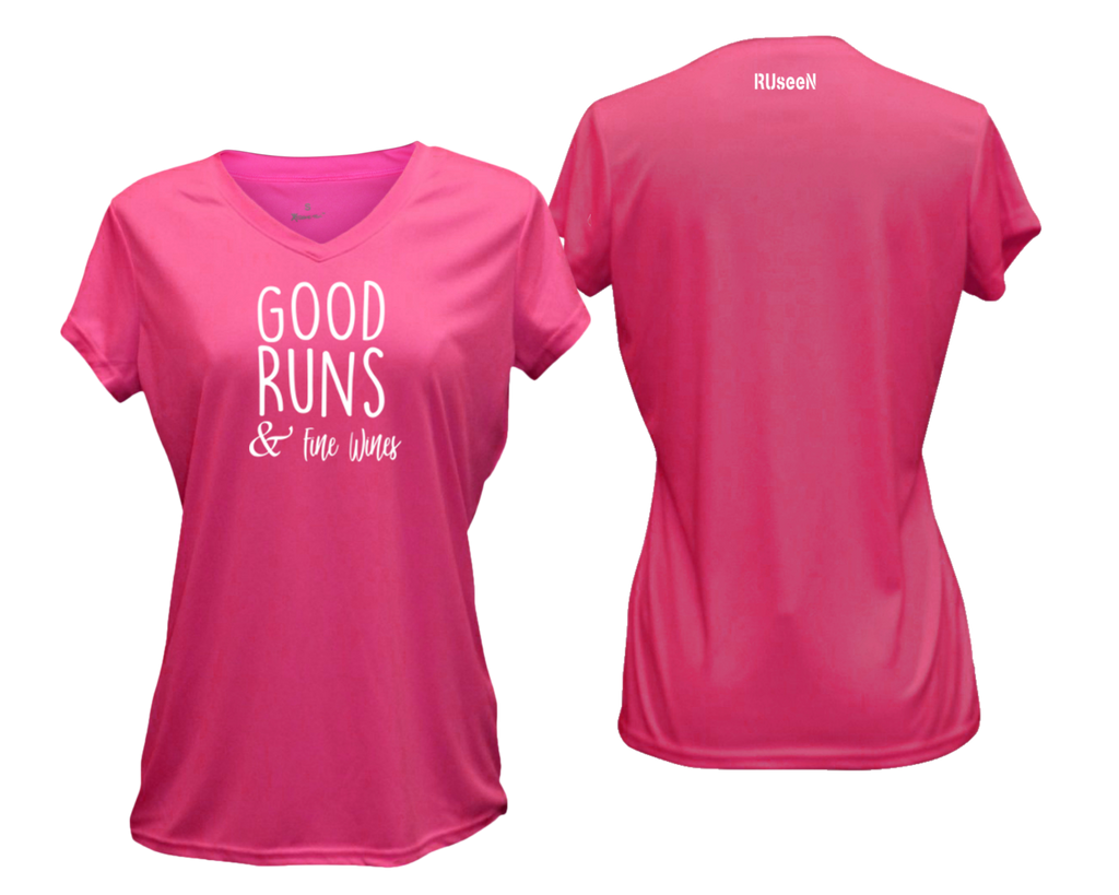 WOMEN'S REFLECTIVE SHORT SLEEVE SHIRT – GOOD RUNS & FINE WINES – Front & Back – Neon Pink