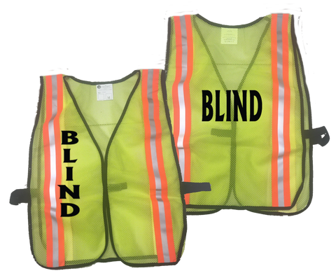Reflective Mesh Vest - Lime Yellow with Orange Stripes - BLIND