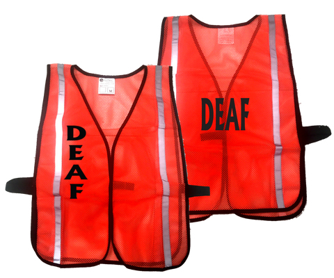 Mesh Reflective Vest - DEAF - Orange