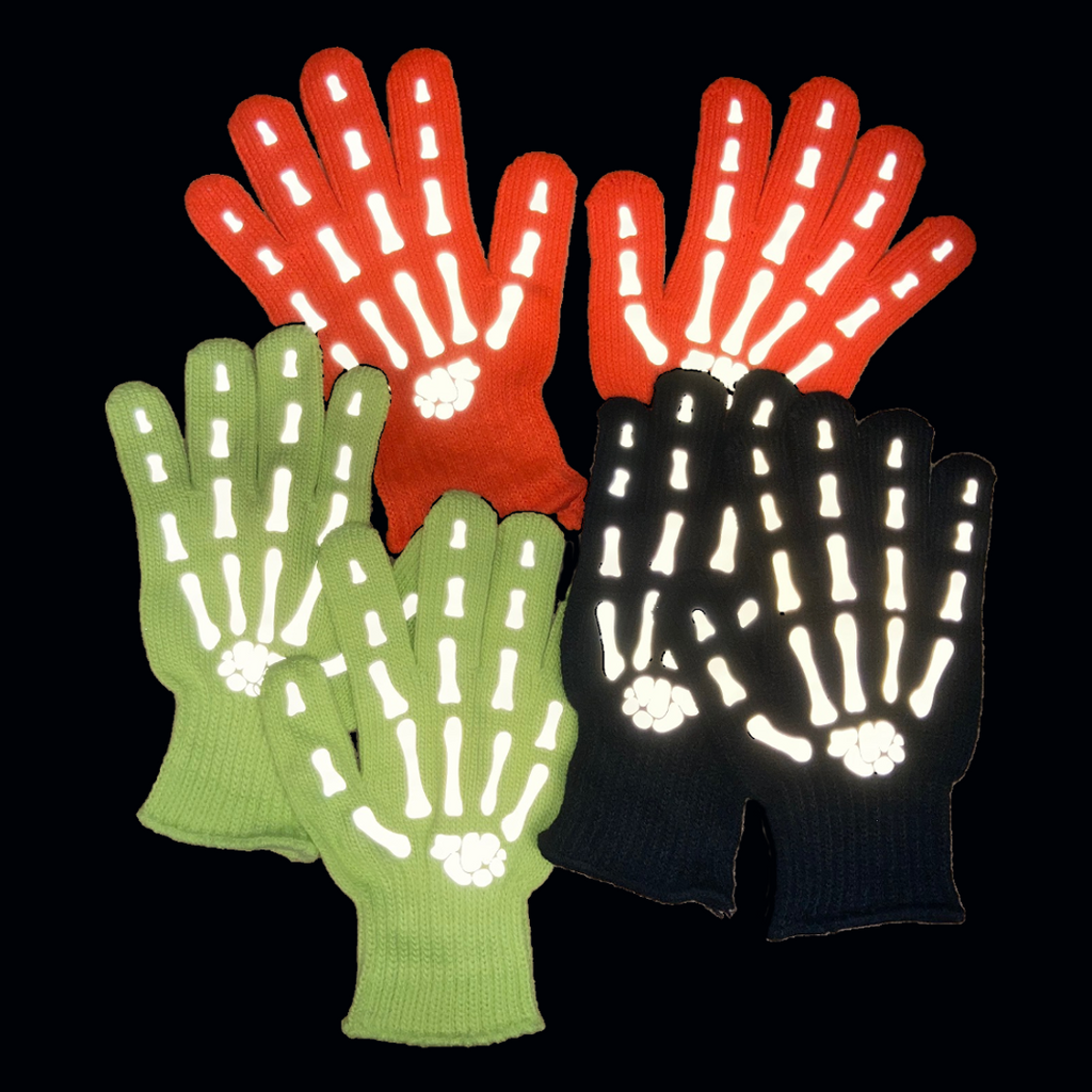 Reflective Knit Gloves - Bony Fingers - Black, Yellow, Orange, Night View