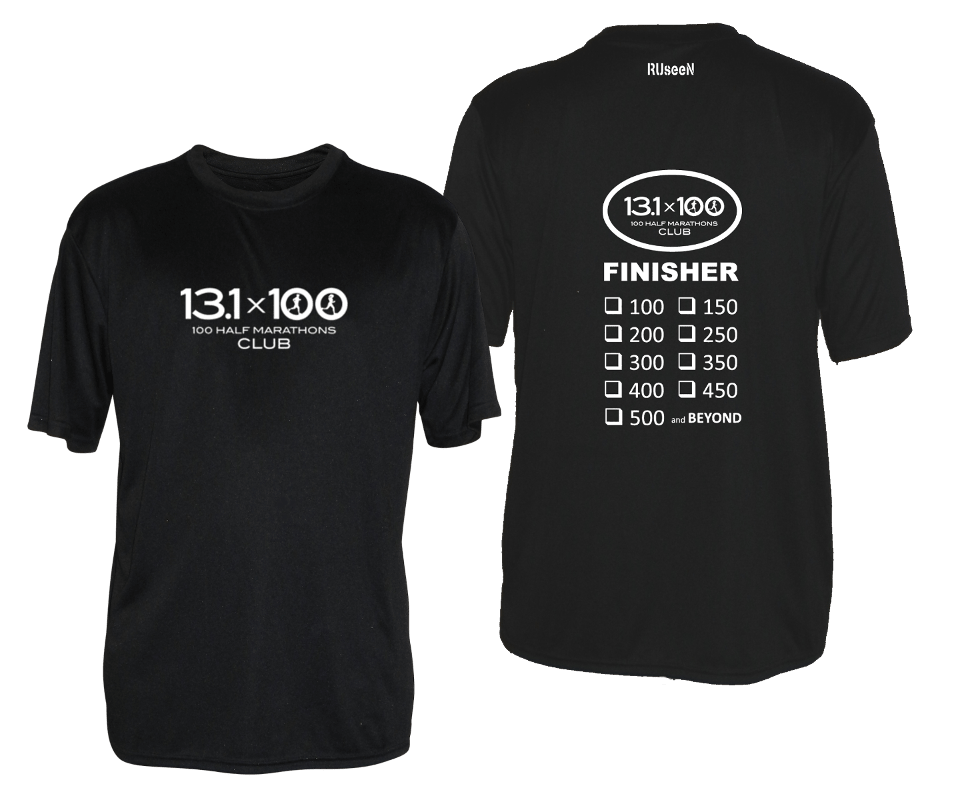 Men's Reflective Short Sleeve Shirt - 100 Half Marathons Finisher - Front & Back - Black