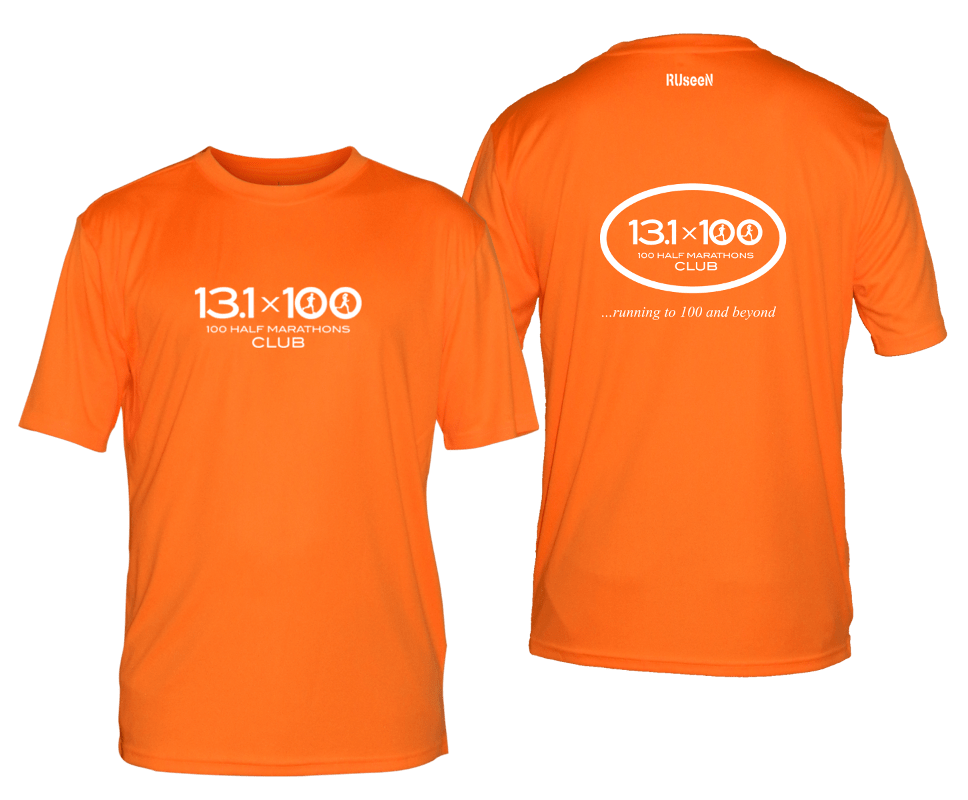 Men's Reflective Short Sleeve Shirt - 100 Half Marathons Club - Front & Back - Orange