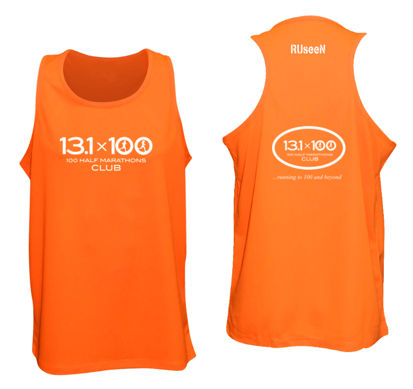 Men's Reflective Tank Top - 100 Half Marathons Club - Front & Back - Orange