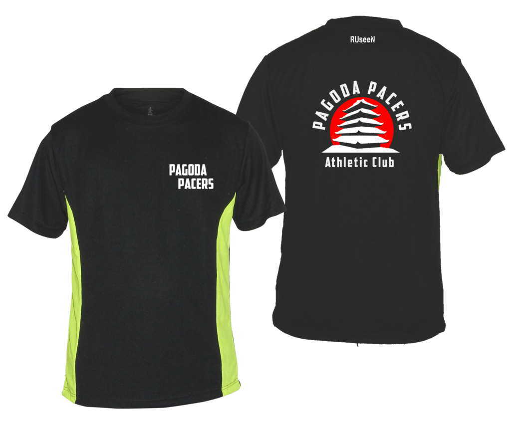Men's Reflective Short Sleeve Shirt – Reading Pagoda Pacers - Front & Back - Black & Lime