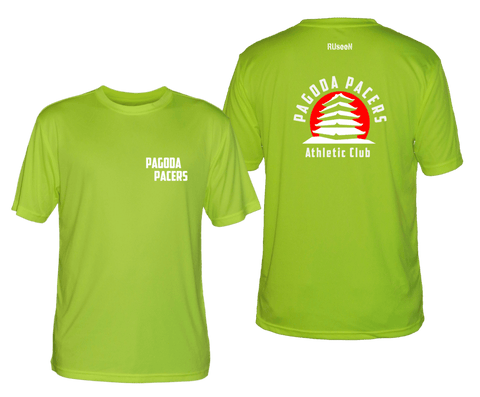 Men's Reflective Short Sleeve Shirt – Reading Pagoda Pacers - Front & Back - Lime Yellow