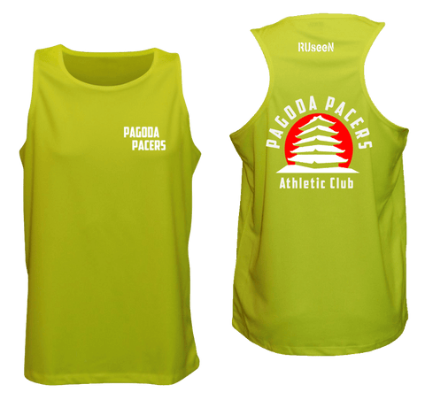 Men's Reflective Tank – Reading Pagoda Pacers - Front & Back - Lime Yellow