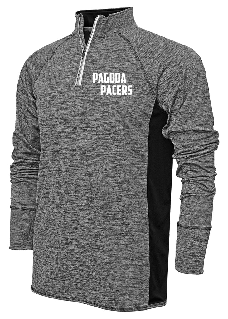 Men's Reflective Quarter Zip - Clubs - Pagoda Pacers - Black Heather - Front