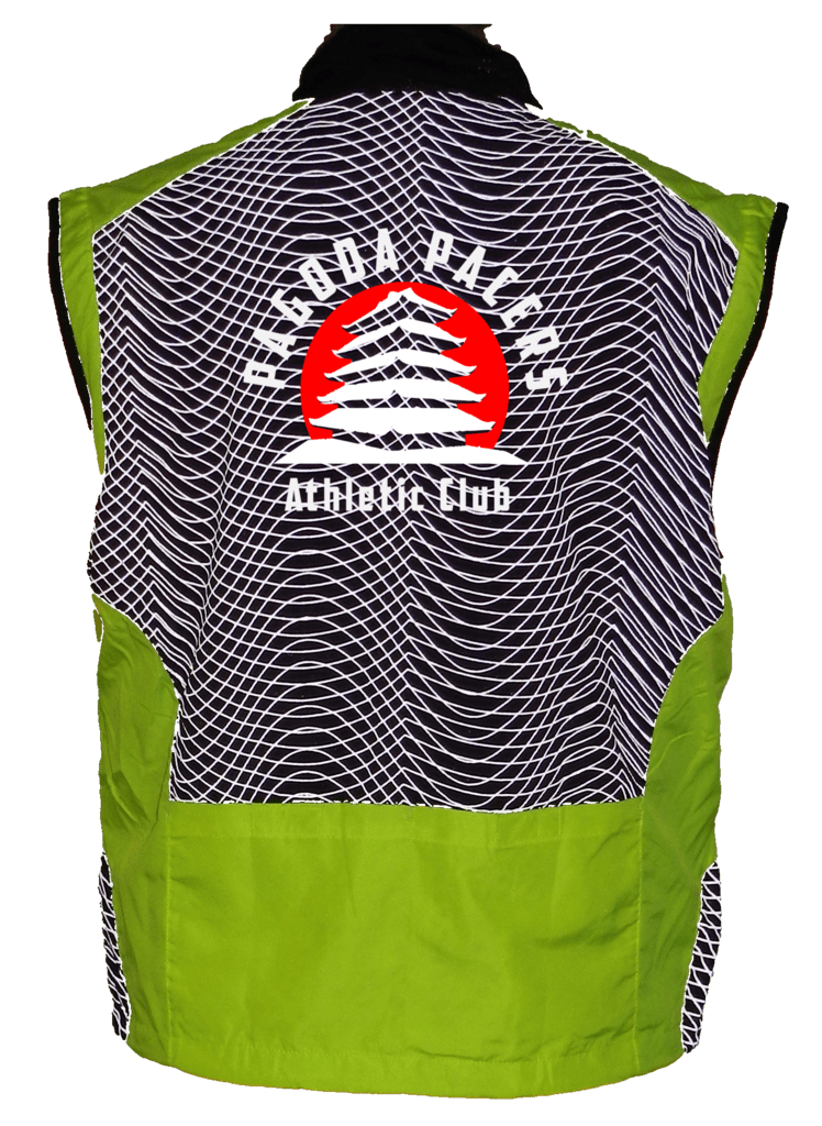 Reflective Tech Vest – Reading Pagoda Pacers - Back - Lime Yellow