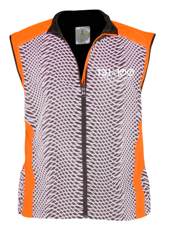 Reflective Tech Vest - 100 Half Marathons Club - Front - Orange