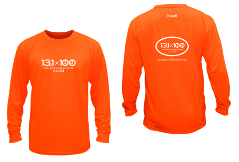 Unisex Reflective Long Sleeve - 100 Half Marathons Club - Front & Back - Orange