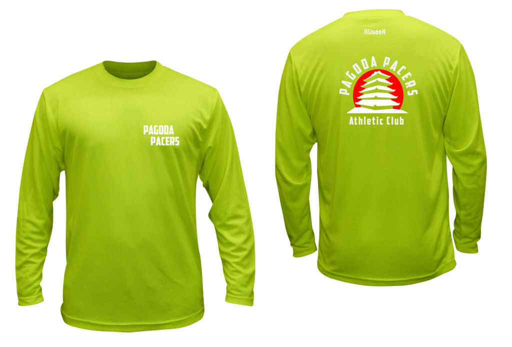 Unisex Reflective Long Sleeve – Reading Pagoda Pacers - Front & Back - Lime Yellow