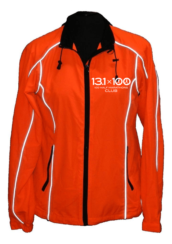 Women's Reflective 360 Windbreaker - 100 Half Marathons Club - Front - Orange