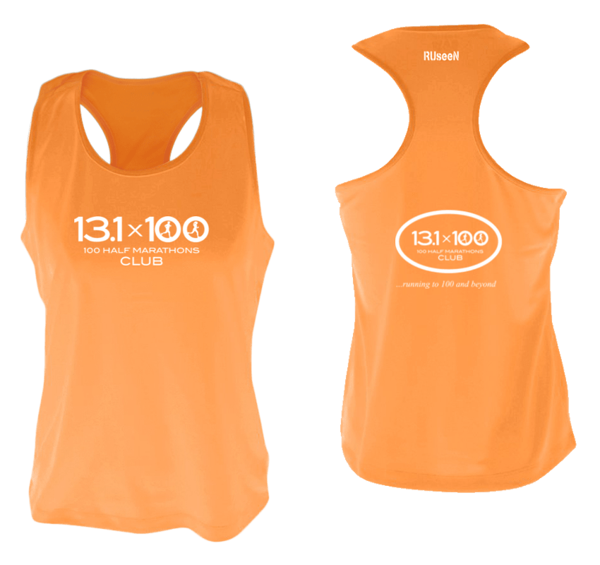 Women's Reflective Tank Top - 100 Half Marathons Club - Front & Back - Orange