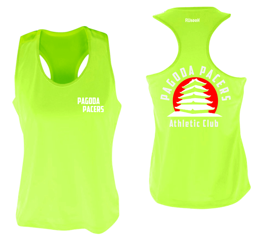 Women's Reflective Tank Top – Reading Pagoda Pacers - Front & Back - Lime Yellow