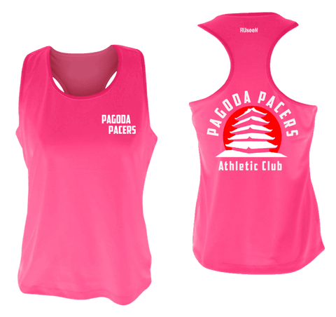 Women's Reflective Tank Top – Reading Pagoda Pacers - Front & Back - Neon Pink