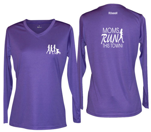 Women's Reflective Long Sleeve - Moms Run This Town - Front & Back - Dark Purple
