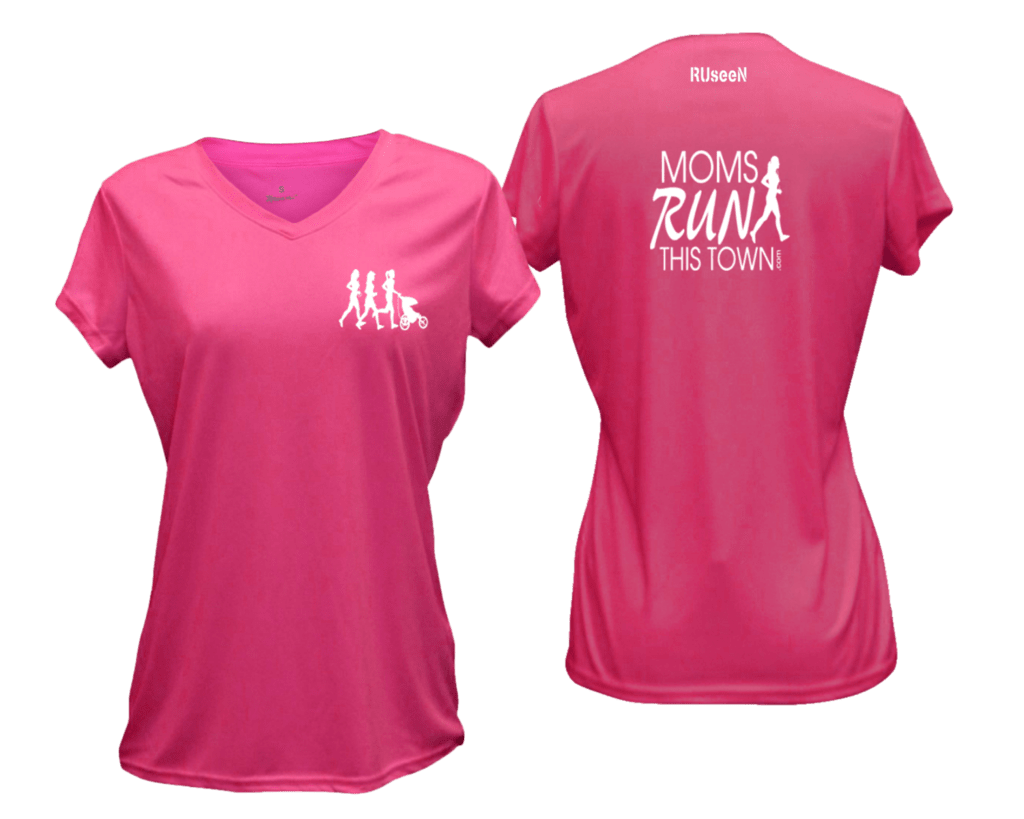 Women's Reflective Short Sleeve Shirt - Moms Run This Town - Front & Back - Neon Pink