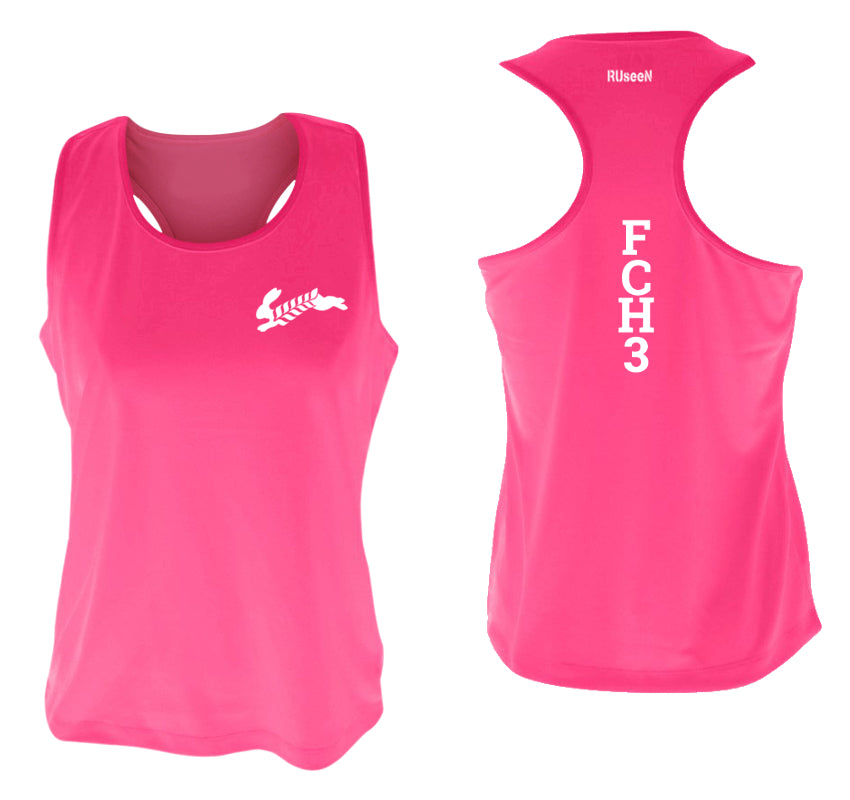 WOMEN'S REFLECTIVE TANK TOP - FCH3 - FLOUR CITY H3 - Design 1 - Front & Back - Neon Pink