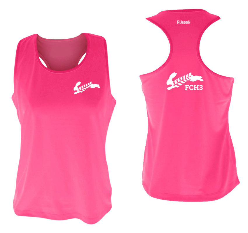 WOMEN'S REFLECTIVE TANK TOP - FCH3 - FLOUR CITY H3 - Design 2 - Front & Back - Neon Pink