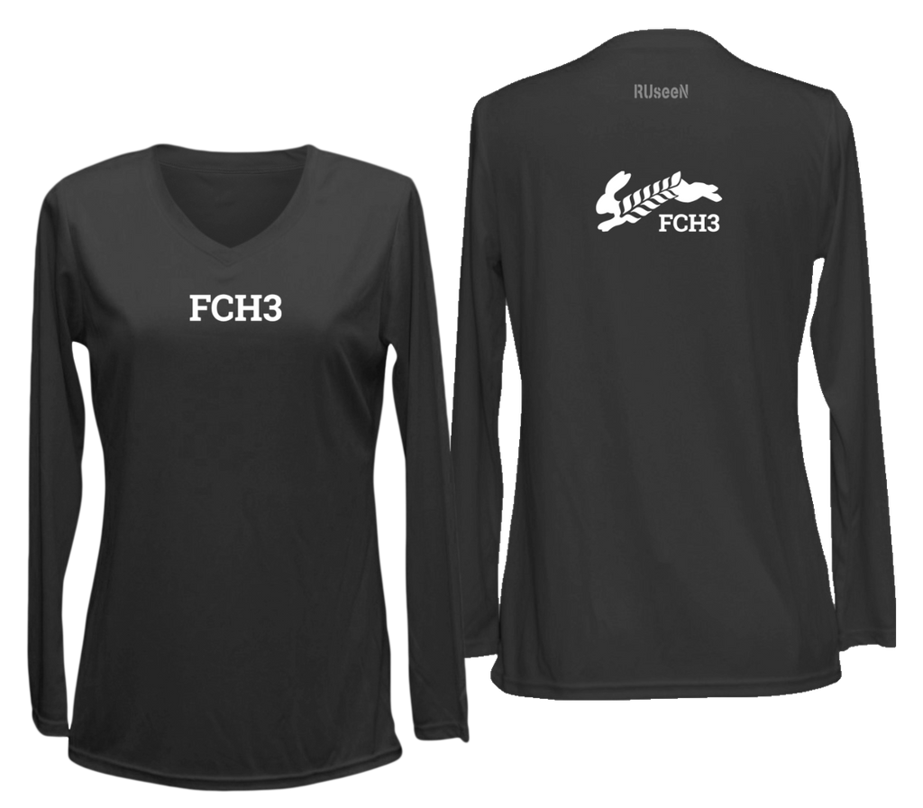 WOMEN'S REFLECTIVE LONG SLEEVE SHIRT - FCH3 - DESIGN 3 - Front & Back - Black