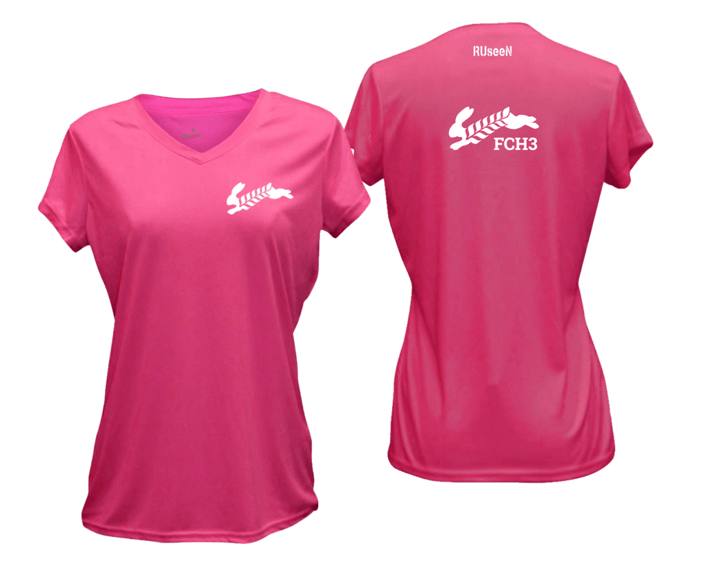 WOMEN'S REFLECTIVE SHORT SLEEVE SHIRT –  Flour City H3 - FCH3 Design 2 - Front & Back – Neon Pink