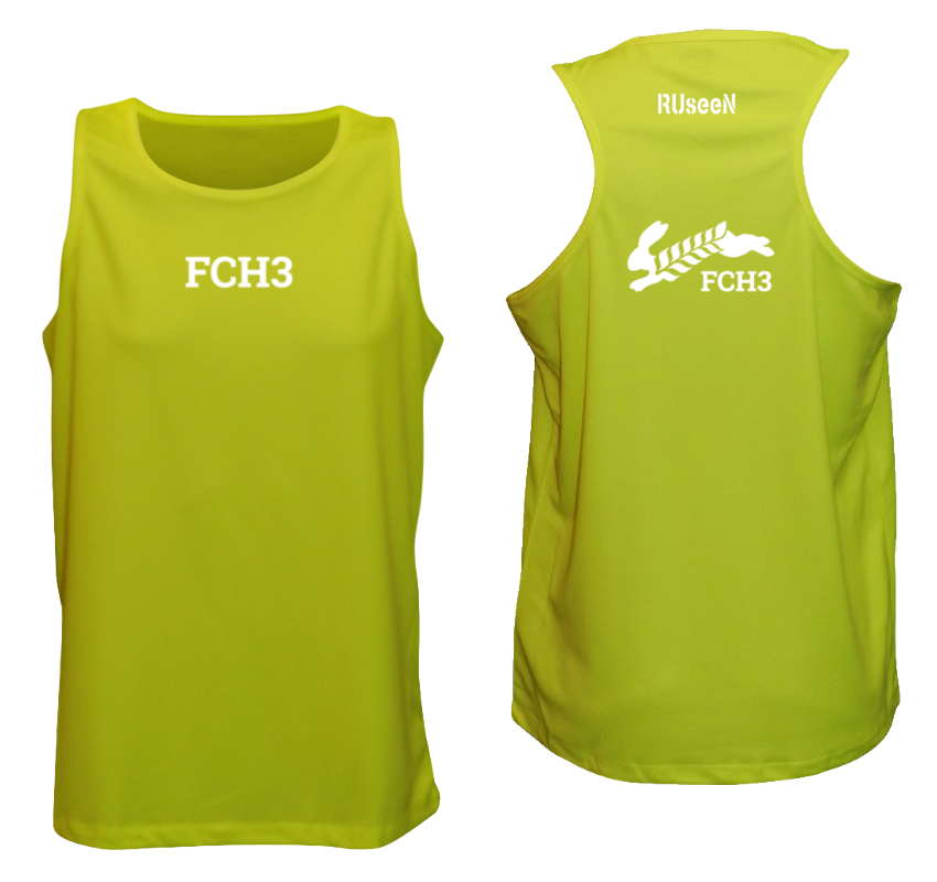 Men's Reflective Tank Top - Flour City H3 - FCH3 Design 3 - Front & Back - Lime Yellow