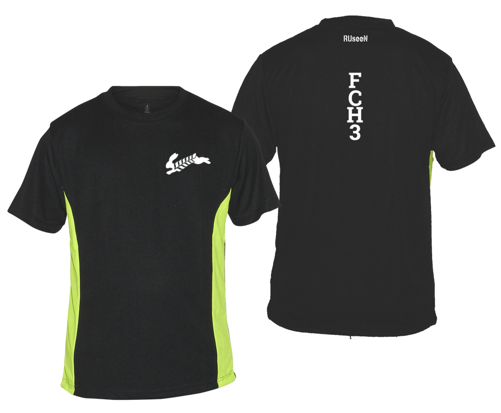 MEN'S REFLECTIVE SHORT SLEEVE SHIRT - Flour City H3 - FCH3 - Design 1 - Front & Back - Black & Lime