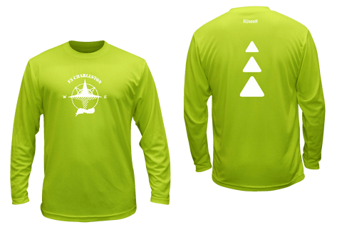 Men's Reflective Long Sleeve - Charleston F3 - Lime Yellow - Front & Back