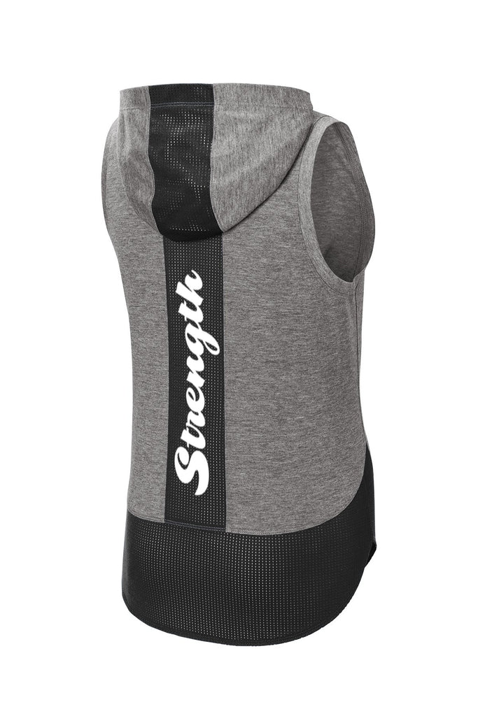 Women's Reflective Sleeveless Hoodie Tank - TriBlend - Gray - Black Mesh Panels - Back