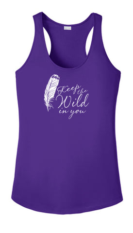 Women's Reflective Tank Top - Feather Keep the Wild - Dark Purple Front