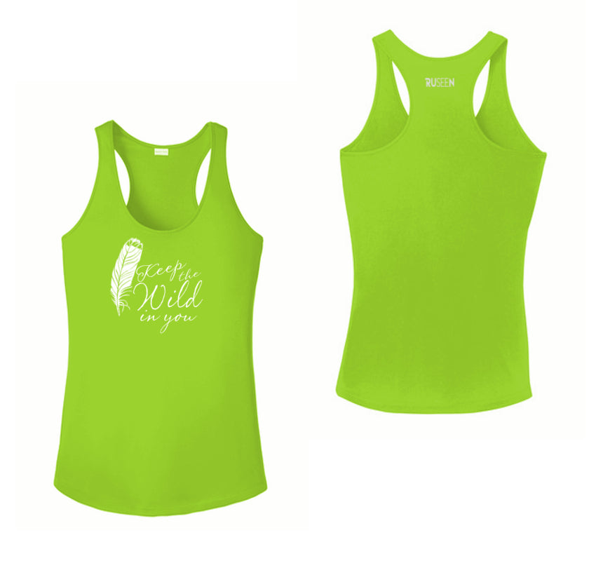 Women's Reflective Tank Top - Feather Keep the Wild - Lime Green