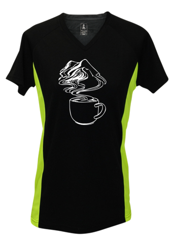 WOMEN'S REFLECTIVE SHORT SLEEVE SHIRT –  COFFEE MOUNTAINS - Front - Black & Lime