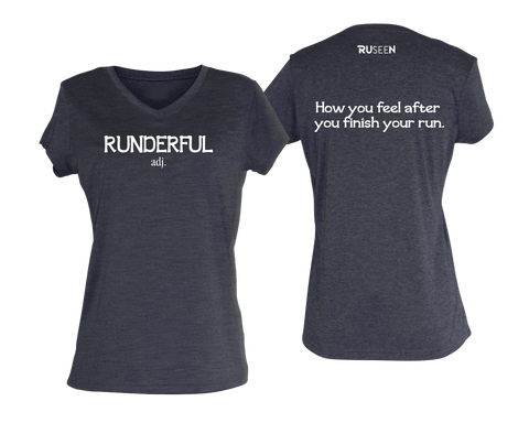 WOMEN'S REFLECTIVE SHORT SLEEVE SHIRT - RUNDERFUL - Front & Back - Purple Heather