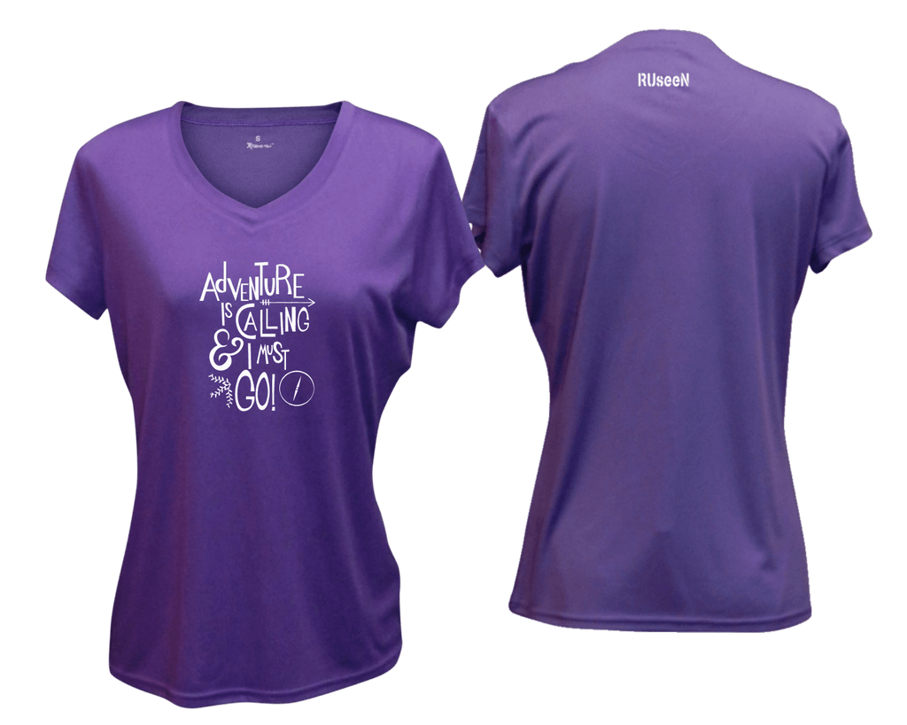 WOMEN'S REFLECTIVE SHORT SLEEVE SHIRT - ADVENTURE - Front & Back - Dark Purple