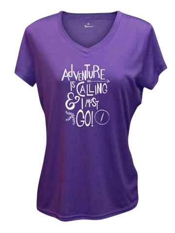 WOMEN'S REFLECTIVE SHORT SLEEVE SHIRT - ADVENTURE - Front - Dark Purple