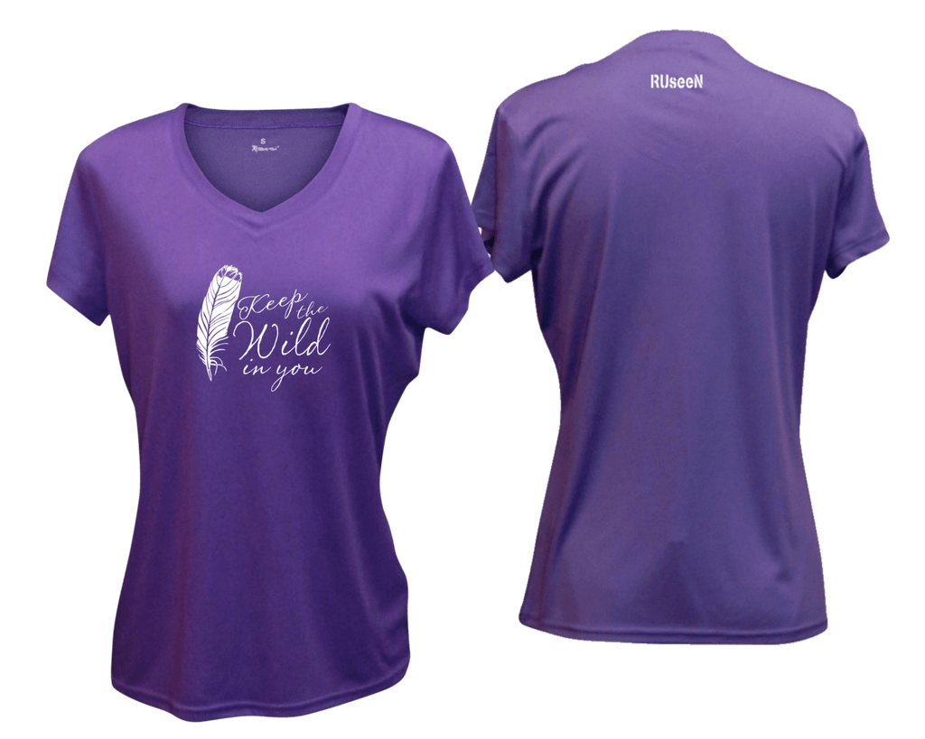 WOMEN'S REFLECTIVE SHORT SLEEVE SHIRT – FEATHER KEEP THE WILD - Front & Back – Dark Purple