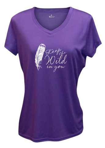 WOMEN'S REFLECTIVE SHORT SLEEVE SHIRT – FEATHER KEEP THE WILD - Front – Dark Purple