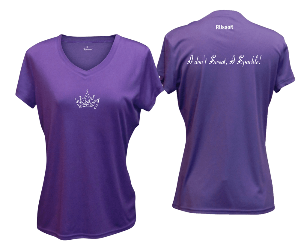 WOMEN'S REFLECTIVE SHORT SLEEVE SHIRT –  SPARKLE - Front & Back – Dark Purple