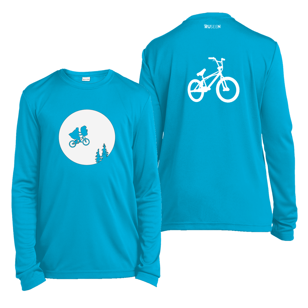 Kids Reflective Long Sleeve Shirt - Retro Bike - Atomic Blue