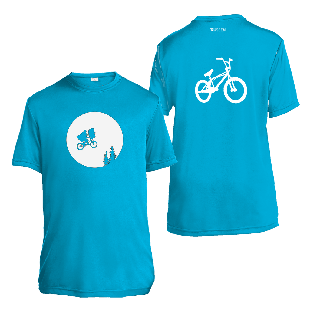 Kids Reflective Short Sleeve Shirt - Retro Bike - Atomic Blue